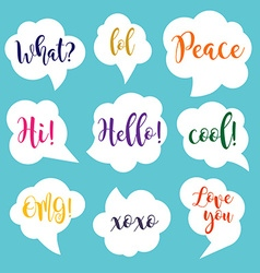 White speech bubbles with colorful inscriptions vector image vector image