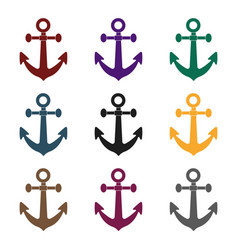 anchor icon in black style isolated on white vector image
