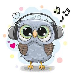 cute cartoon owl with headphones vector image vector image