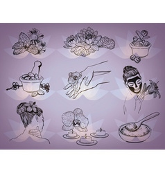Hand Drawn Beauty Spa Icons vector image