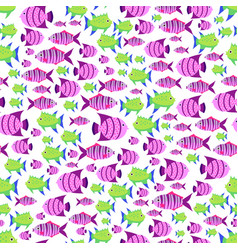 seamless pattern with cute cartoon fish in vector image
