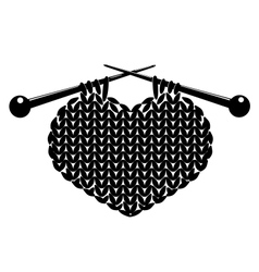 Silhouette of knitting heart vector image