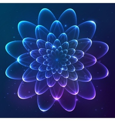 Blue shining cosmic flower vector image vector image