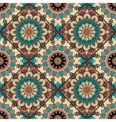 Flower Pattern Boho Brown Blue Intricate vector image