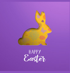 happy easter card of paper cut spring rabbit vector image vector image