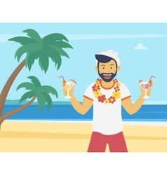 Happy young man enjoying and drinking cocktails on vector image