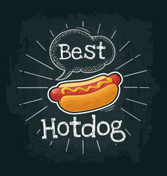 Hotdog with mustard flat with vector