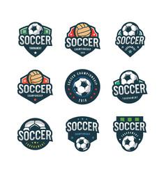 set of football soccer logos sport emblems vector image vector image