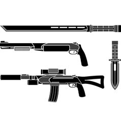 set of weapons of special forces vector image