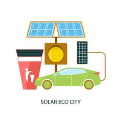 solar energy eco city vector image