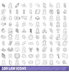 100 law icons set outline style vector image