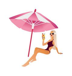 cartoon beach girl isolated vector image