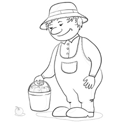 gardener with apples contours vector image vector image