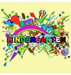 Kindergarten line art design vector image