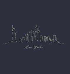 pen line silhouette new york dark blue vector image