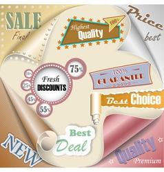 Retro and vintage paper sale elements eps10 vector image