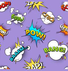 seamless pattern of cartoon comic speech bubbles vector image vector image