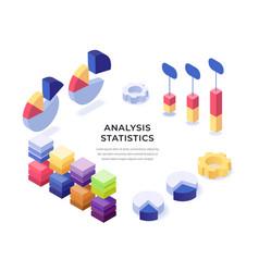 analysis statistics isometric poster vector image