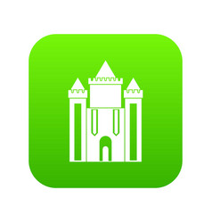 Ancient fort icon digital green vector