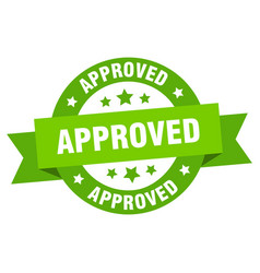 approved ribbon approved round green sign approved vector image