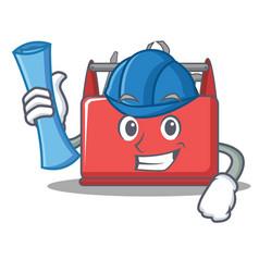 architect tool box character cartoon vector image