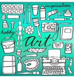 Art supplies set Hand-drawn cartoon collection vector
