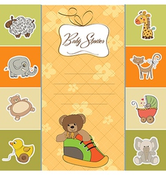 Baby shower card with teddy bear hidden in a shoe vector