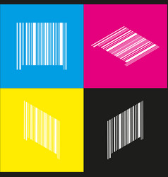 Bar code sign white icon with isometric vector