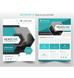 Blue abstract hexagon annual report brochure vector