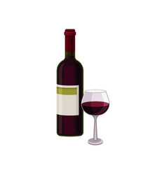 bottle of red dry wine and glass alcoholic vector image
