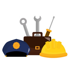 Builder helmet with police hat and tools vector