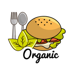 Burger icon with spoon and fork organic concept vector