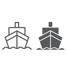 cargo ship line and glyph icon transportation and vector image