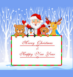 Cartoon Santa and friend holding Christmas vector image
