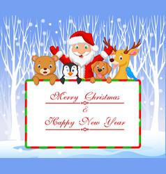 Cartoon Santa and friend holding Christmas vector