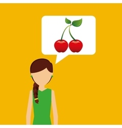 Character shopping cherry fruit nature vector
