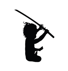 Child with samurai sword vector