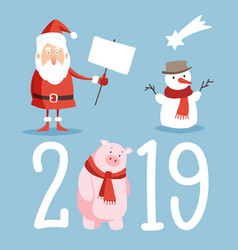 christmas and new year 2019 cute icons set santa vector image