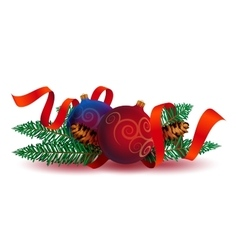 Christmas Decoration with ribbon and fir branches vector image