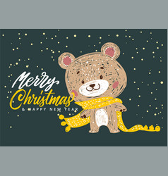 christmas poster with bear vector image