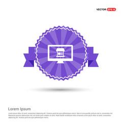 computer icon - purple ribbon banner vector image