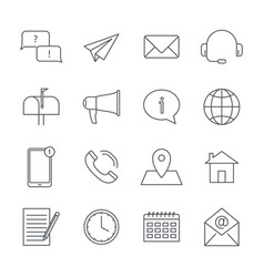 contact us and support service linear icons set vector image