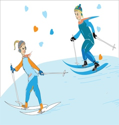 Couple Skiing vector image