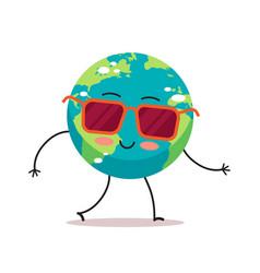 Cute earth character wearing sunglasses cartoon vector