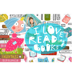 Cute girl and books love reading design vector
