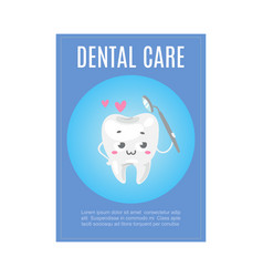 Cute healthy white tooth with dental health care vector