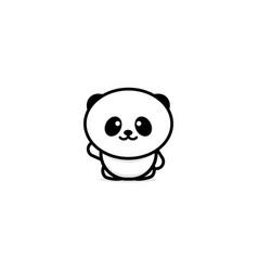 Cute panda welcomes waving his hand vector