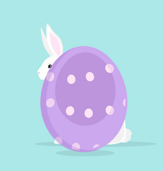 cute rabbit with painted easter egg vector image