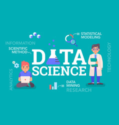 Data science with person and icons vector