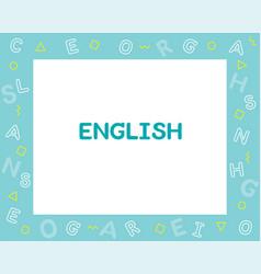 English subject frame design alphabet vector